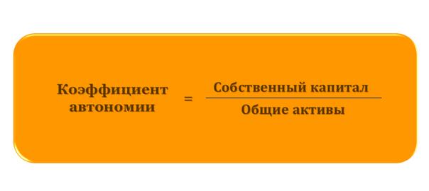 Коэффициент автономии (формула)