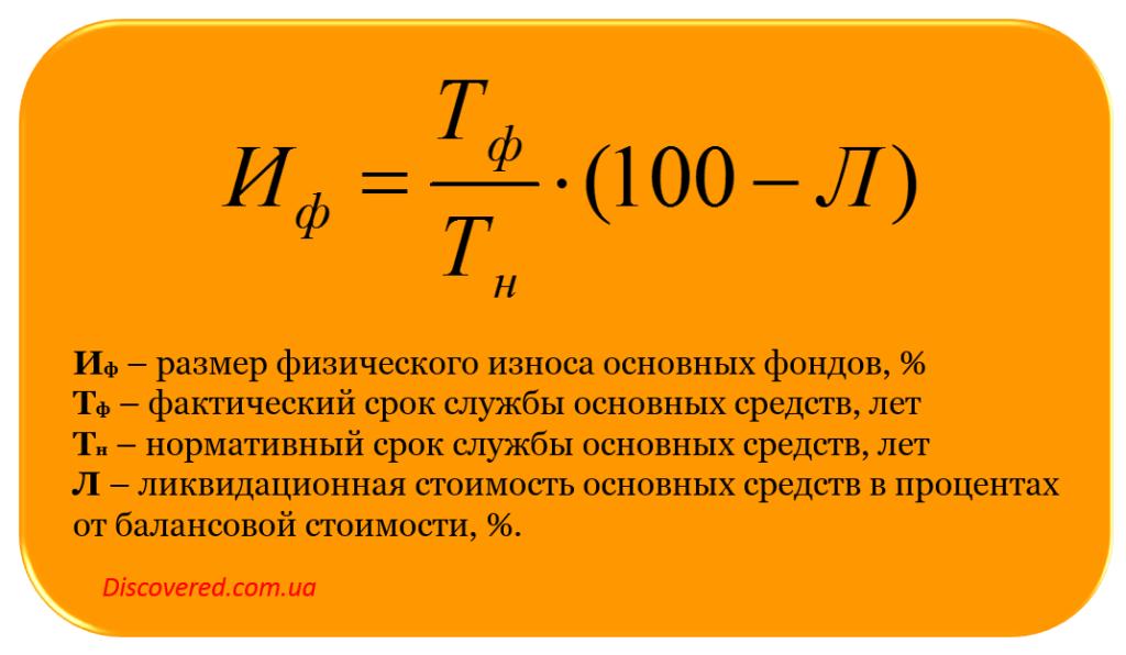 физический износ основных фондов исходя из сроков службы объектов основных фондов