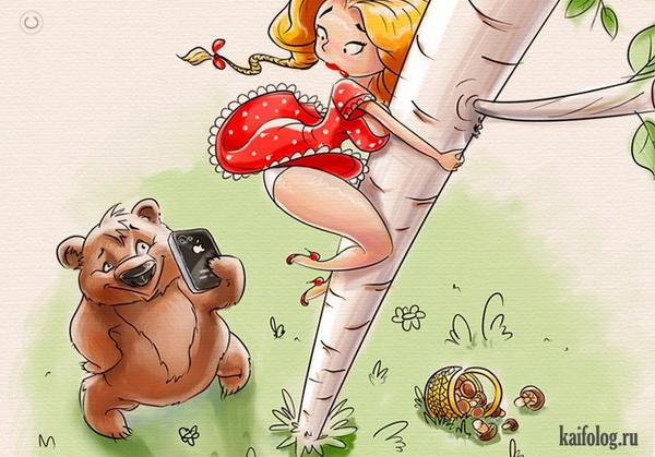 Карикатура Маша и Медведь