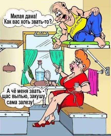 Карикатура в купе поезда