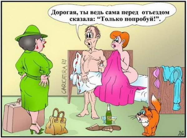 карикатура жена в командировке
