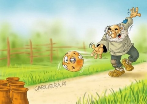 Карикатура про колобка