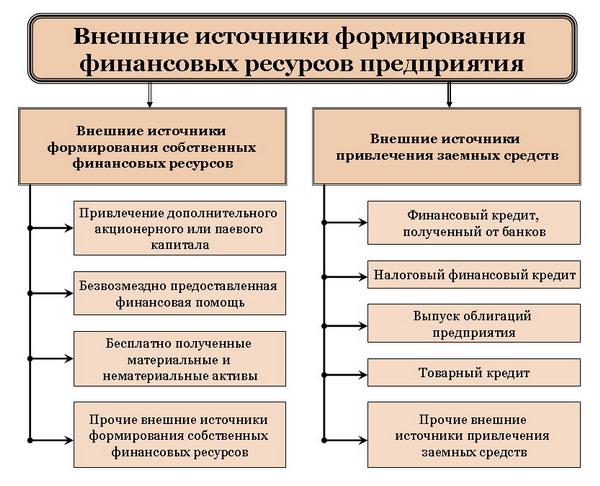 Внешние источники формирования финансовых ресурсов предприятия